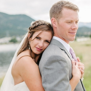 Lakeside bride and groom portrait
