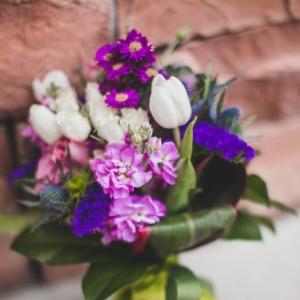 Beautiful purple mountain wedding bouquet