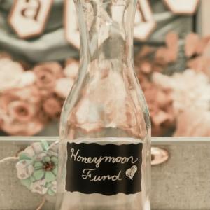 DIY shabby chic Honeymoon Fund with chalkboard paint