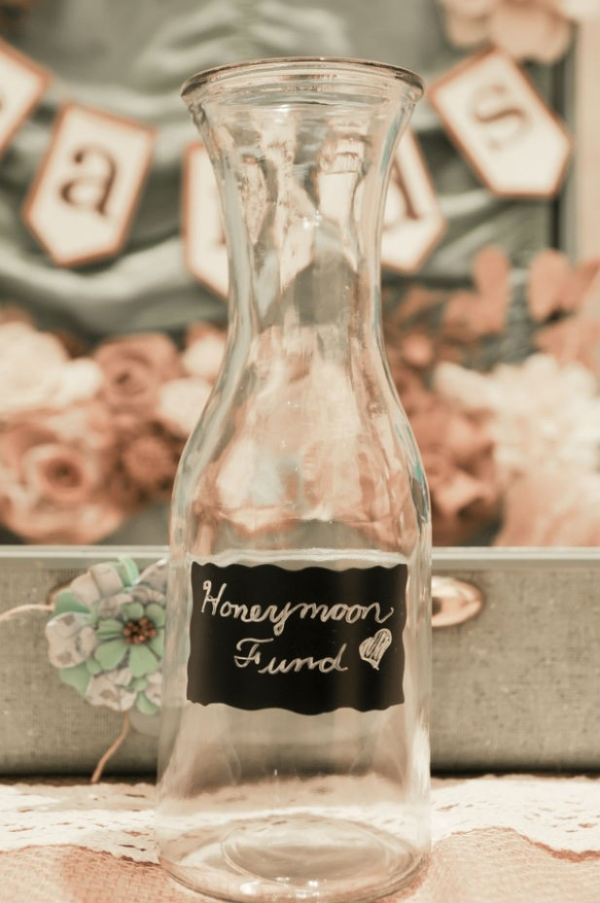 DIY shabby chic Honeymoon Fund with chalkboard paint