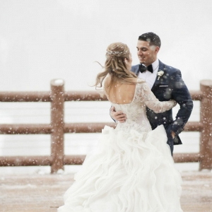 Wedding portrait in snow