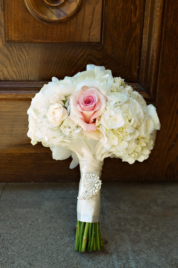 Pretty rose and hydrangea bouquet with ribbon and rhinestone brooch