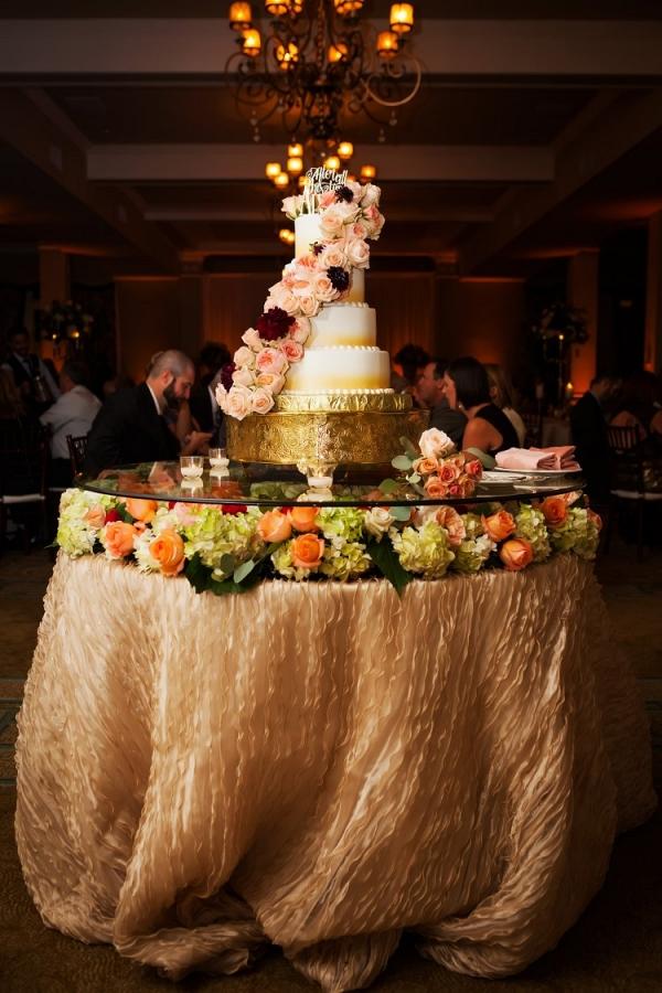 Extravagant wedding cake table