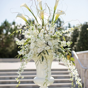 White wedding ceremony flowers