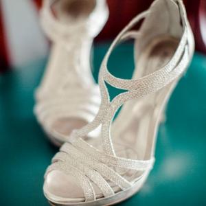 Strappy silver heels