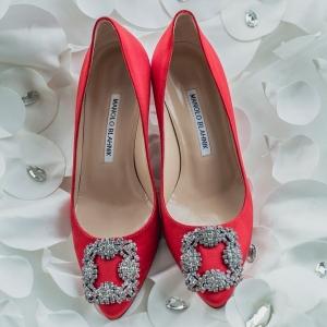 Coral Manolo Blahnik wedding shoes