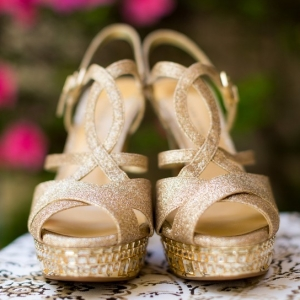 Glam gold sandal wedges with rhinestones
