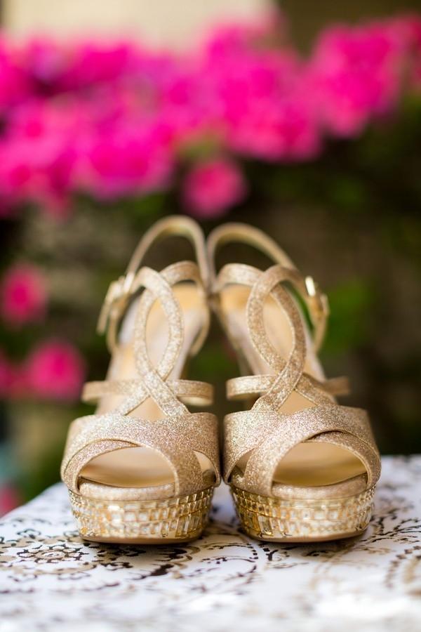 Glam gold sandal wedges with rhinestones