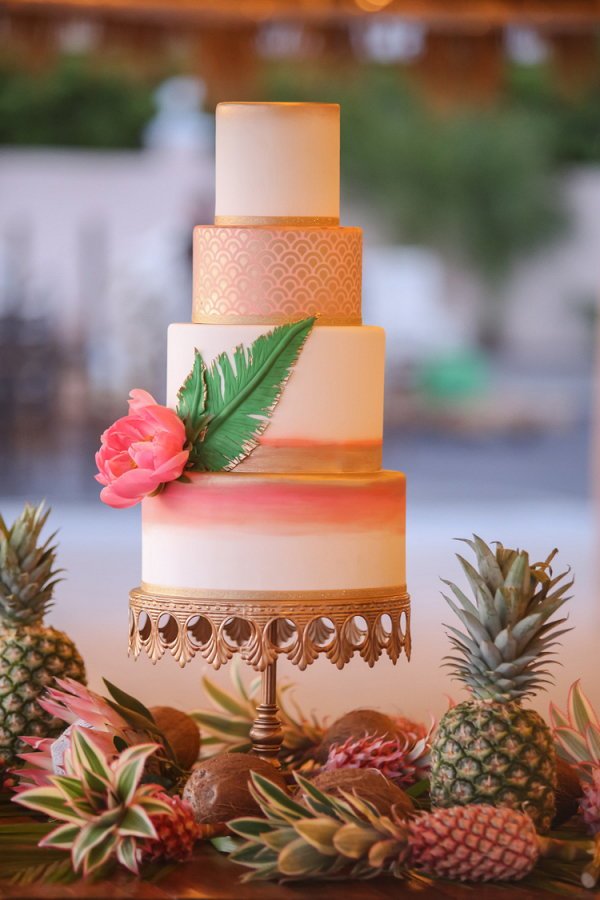 Tropical metallic wedding cake