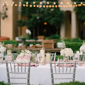Pink and silver outdoor wedding reception