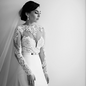 Romantic illusion lace long sleeved, two piece wedding dress
