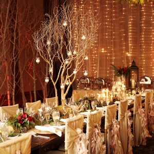 Romantic winter wedding reception