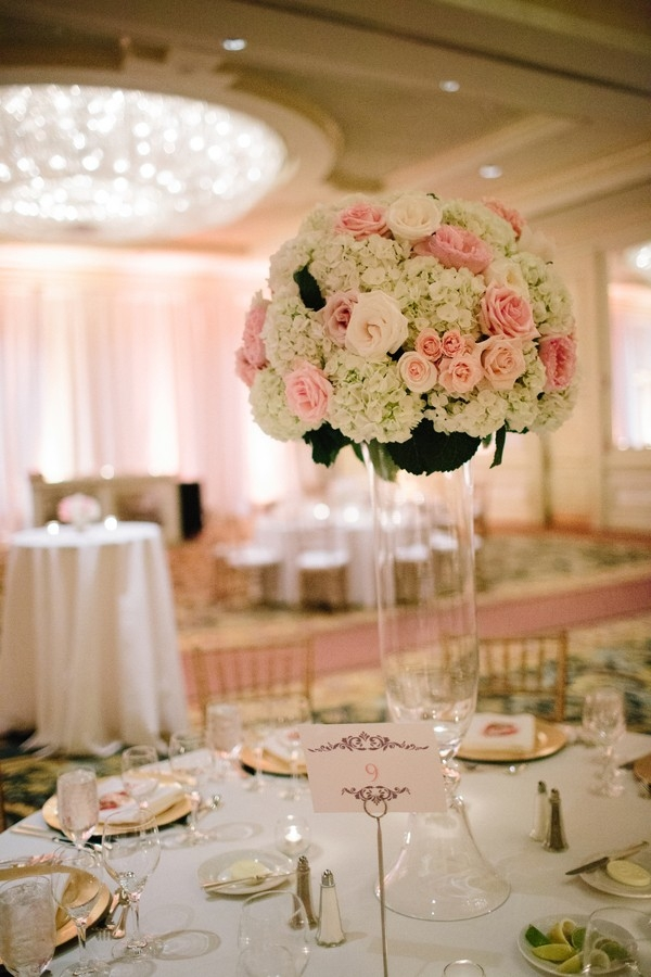Tall hydrangea and garden rose centerpiece