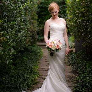 Elegant bride holding bouquet