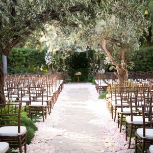 Enchanted forest wedding ceremony at The Beverly Hills Hotel