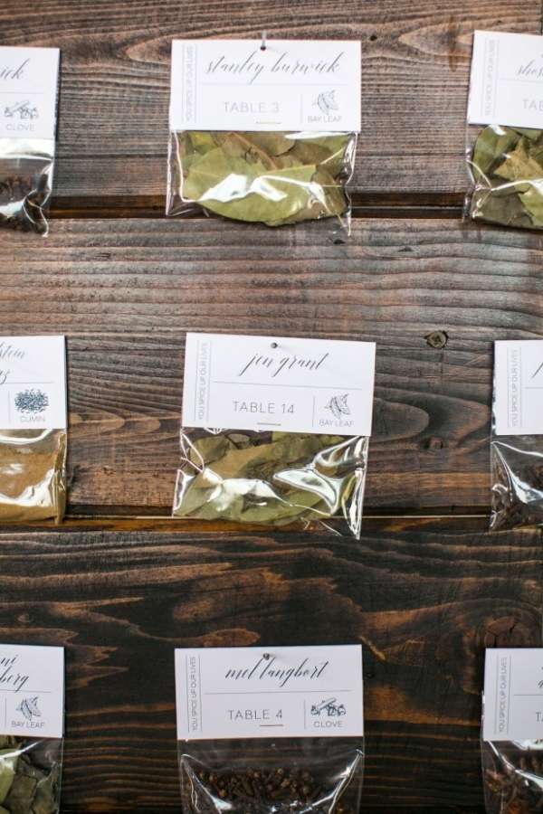 Bagged herb escort cards