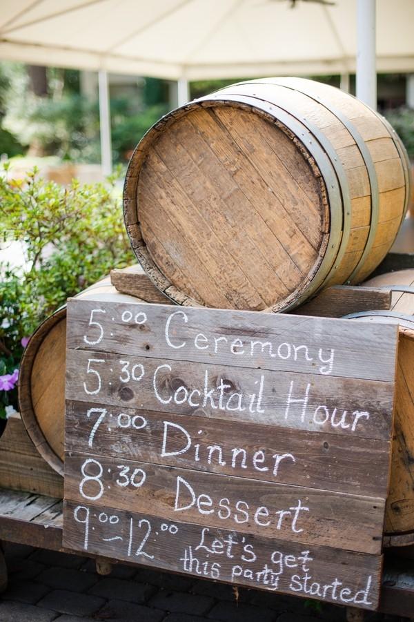Wine barrels and wooden timeline sign