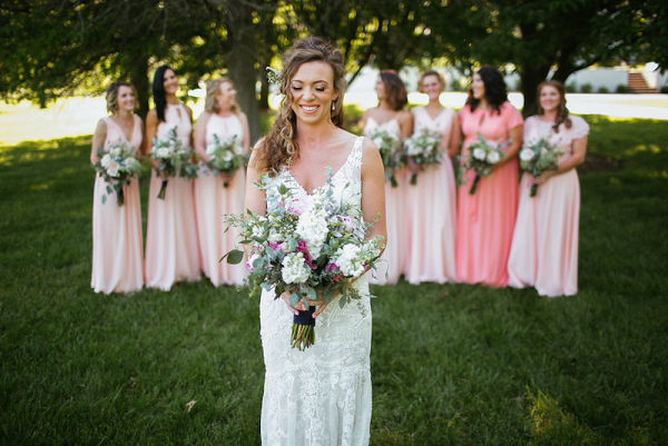 Pink bridal party