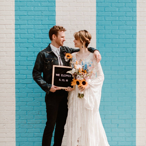 Elopement boho wedding portrait