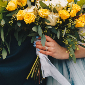 Bright yellow rose wedding bouquet