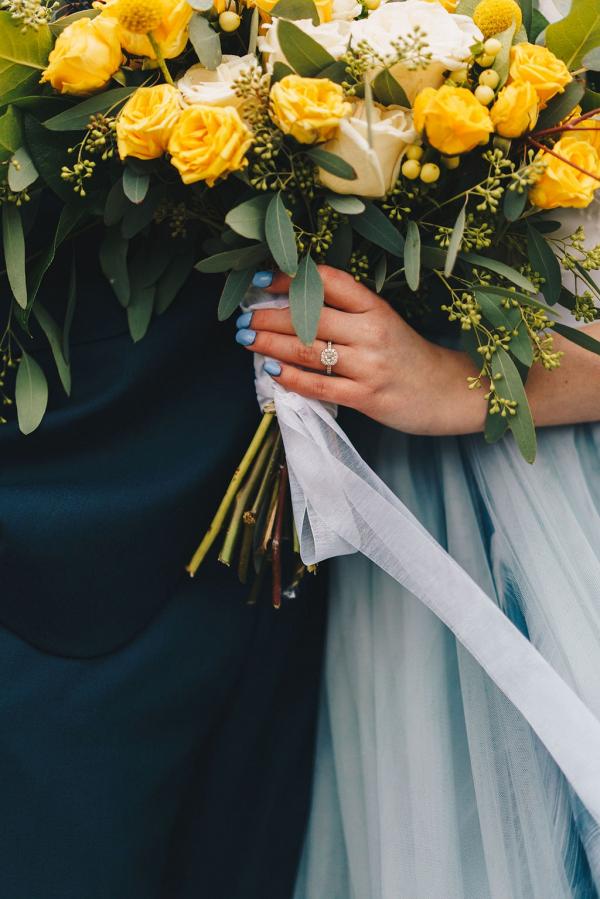 Bright yellow rose wedding bouquet