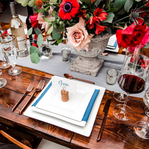 Red and blue wedding tablescape
