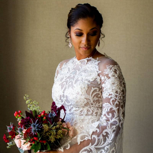 Long sleeve lace applique wedding dress