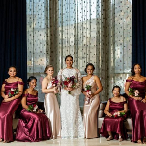 Long satin burgundy bridesmaid dresses