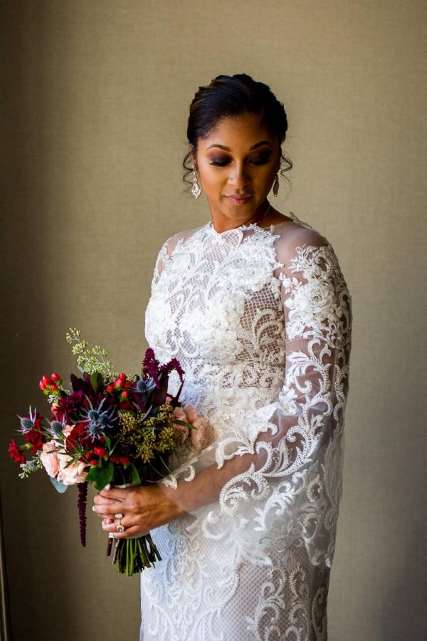 Long sleeve lace applique wedding dress