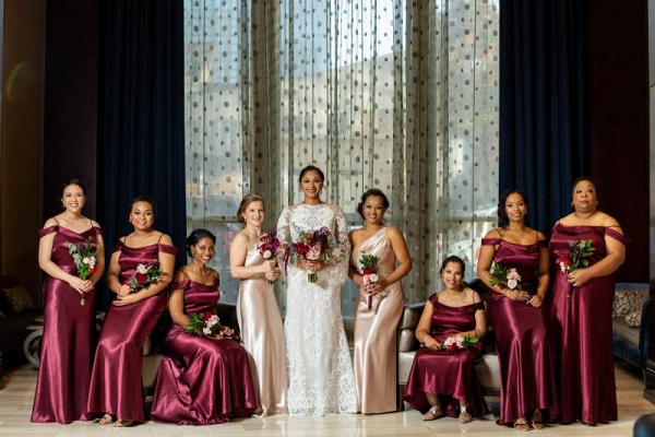 Long satin burgundy bridesmaid dresses
