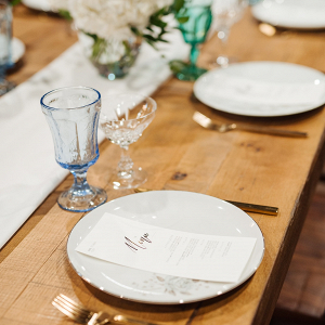 Simple place setting on farm table