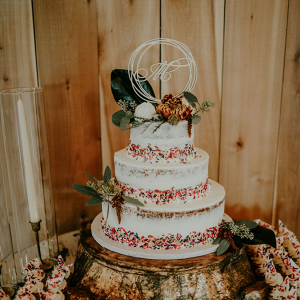 Boho wedding cake with sprinkles
