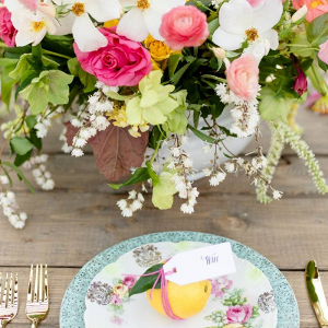 Colorful citrus wedding table