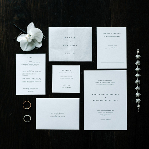 Modern white wedding invitation