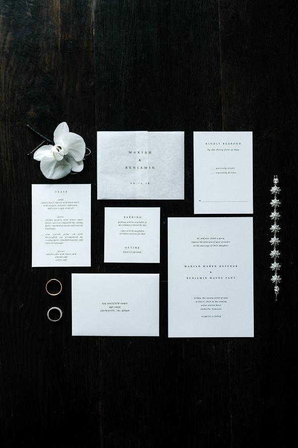 Modern white wedding invitation