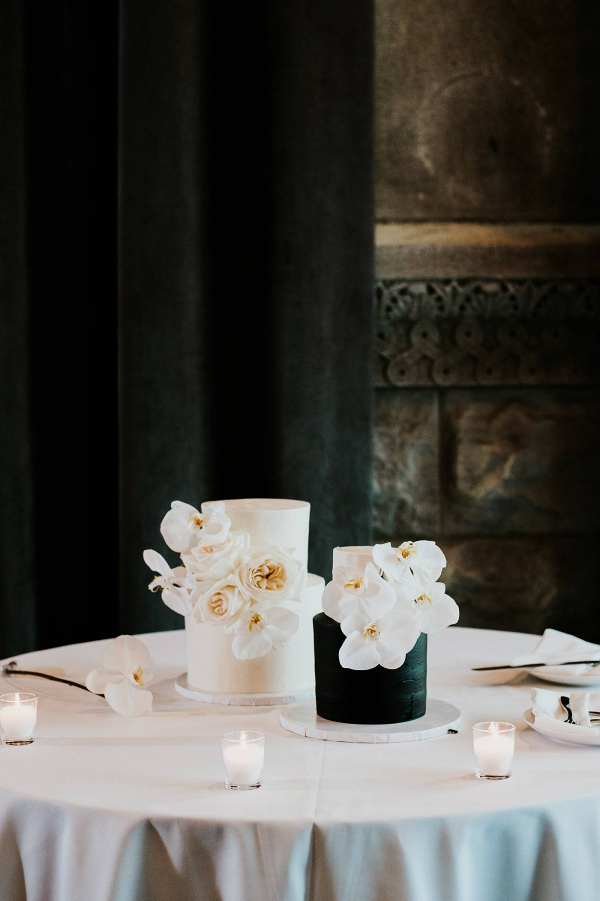 Black and white wedding cakes with orchids