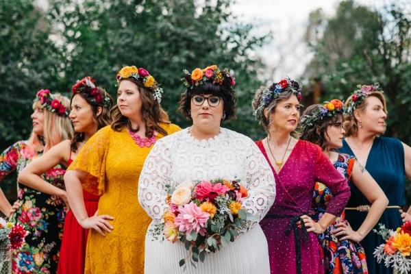 Colorful mismatched bridesmaid dresses