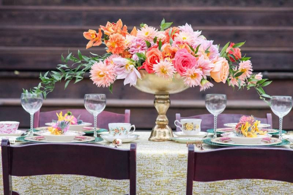Pink and orange wedding centerpiece