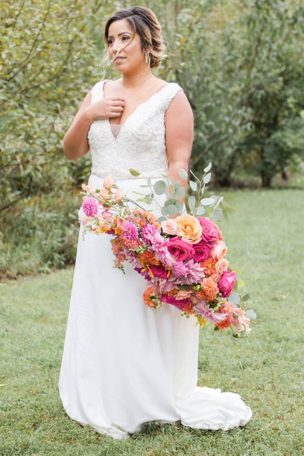 Oversized pink and orange bouquet