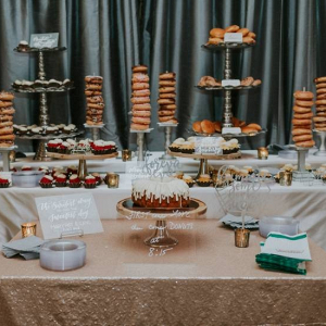 Dessert display with doughnuts and bundt cake