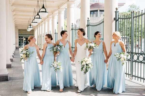 Bridesmaids in light blue