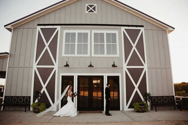 First look in front of barn