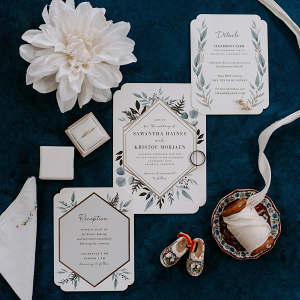Blue greenery wedding invitation suite