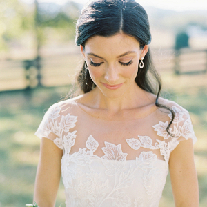Bride with illusion lace wedding dress