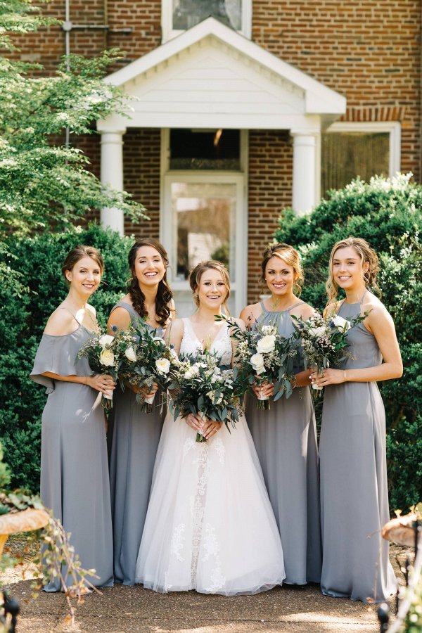 Long gray bridesmaid dresses