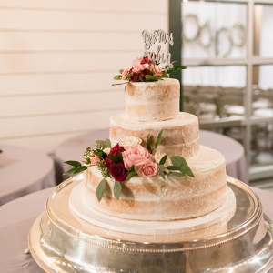 Semi naked cake with fresh roses
