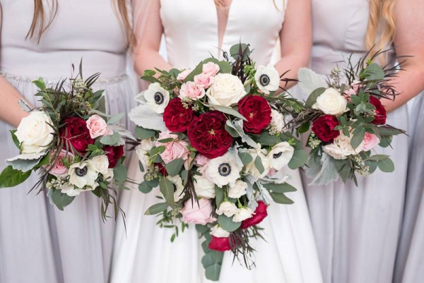 Garden rose and anemone bridal bouquet