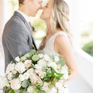 Oversized white and blush bridal bouquet