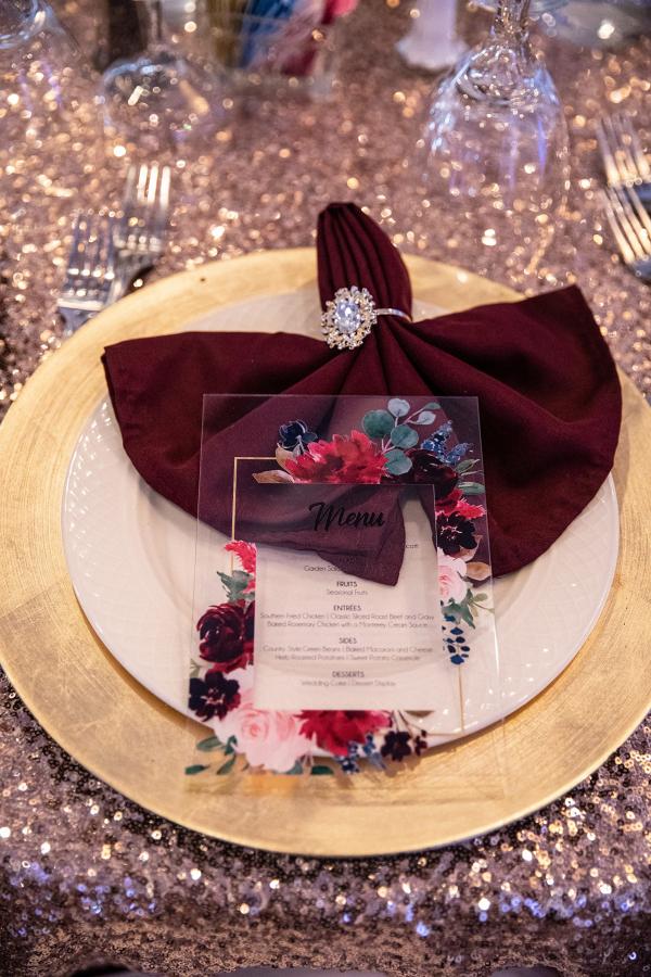 Acrylic floral print wedding menus