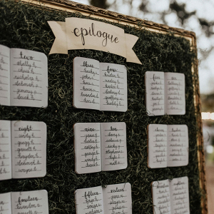 Whimsical storybook wedding seating chart